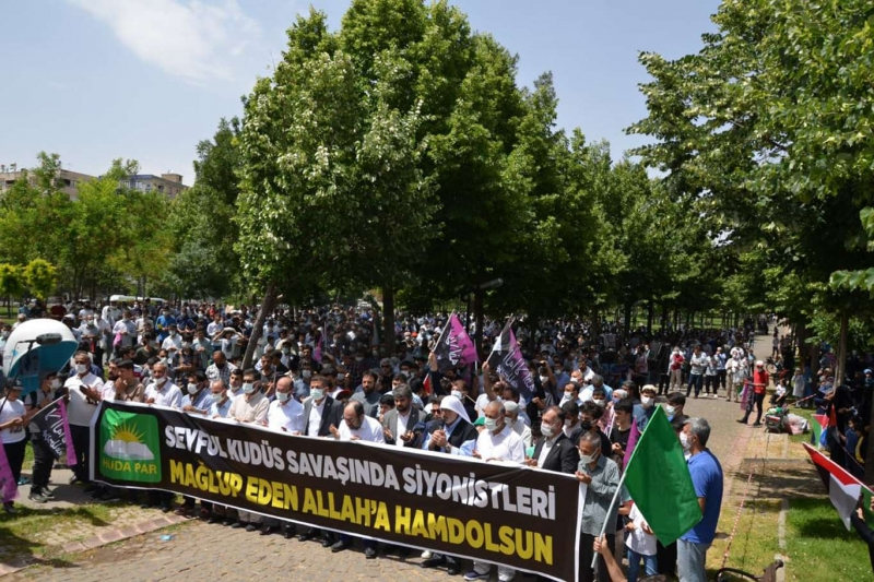 Diyarbakır'da Filistin zaferini tebrik amaçlı kitlesel basın açıklaması düzenlendi